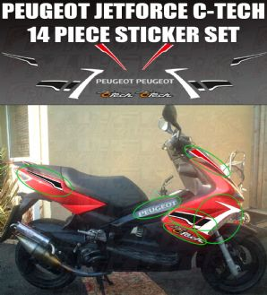Peugeot Jetforce C-Tech Decal/Sticker kit, Original Size 14 piece set jet force